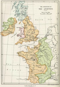 The Angevin Empire is highlighted in orange. (click to enlarge)